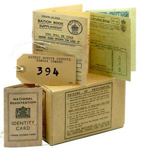 1940s/WW2 Replica History Set GAS MASK BOX-RATION BOOKS-ID CARD-LUGGAGE LABEL