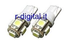 LAMPADINE LED T10 W5W 6000K BIANCO ICE 5 POWER SMD 2W MOTO LUCI ABITACOLO AUTO