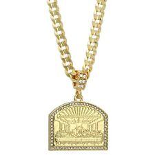Mens 14k Gold Plated Cz LAST SUPPER Pendant Hip-Hop 6mm 24