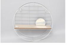 Circular Metal Wooden Shelf Unit Display Storage Stand With Mirror & Hooks