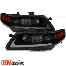 [Black Smoke] 2004 2005 2006 2007 2008 Acura TSX LED Bar Projector Headlights