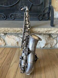 Rare vintage Buescher  Low Pitch  Tru Tone  Saxophone 1914 Silver 153982