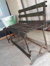 RUSTIC GARDEN SEAT VINTAGE BENCH OUTDOOR WOODEN SLAT WROUGHT IRON TIMBER
