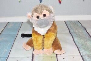 "Wild Republic Squirrel Monkey 12"" Stuffed Gray Face Brown Tan Capuchin Plush Toy"