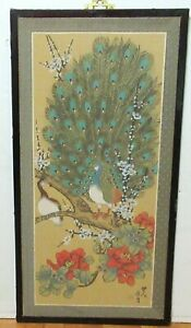 LARGE CHINESE WATERCOLOR SILK PANEL FLORAL PEACOCK PAINTING SIGNED #2