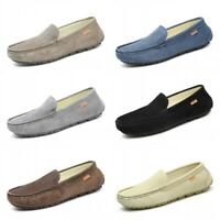 New Mens Driving Loafers Faux Suede Leather Moccasins Slip On Penny Shoes Flat L