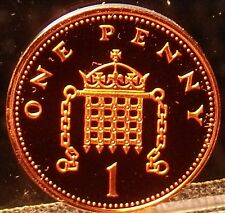 Cameo Proof Great Britain 1996 Penny~Crowned Portcullis~100,000 Minted~Free Ship