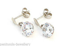 9ct White Gold CZ Round Drop Earrings Gift Boxed Made in UK