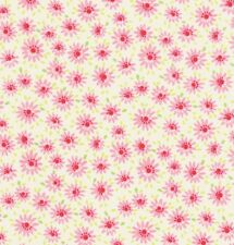 Lakehouse Pam Kitty Mini Daisy Pink & Green Flowers on White Cotton Fabric - FQ