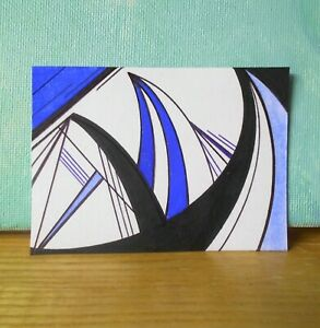 Waves Rising Ocean Abstract Art Mini Artwork Ink Drawing ACEO 2.5 x 3.5 inches