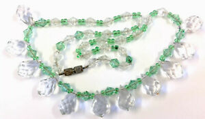 Vintage Emerald Green Briolette Crystal Glass Chain Necklace GIFT BOXED