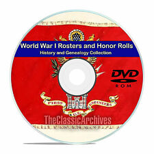 World War I WWI Rosters and Honor Rolls, Names, Records, 56 books on DVD CD V85