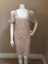 Gold Hawk Cream/Gold Silk Sequin Cold Shoulder Tunic Dress w/ Lining  Sz S NWOT!