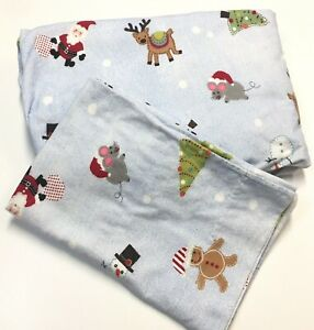 Pottery Barn Kids Flannel Twin Sheet 2pc Set Christmas Santa Reindeer Trees Blue