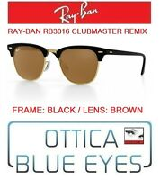 Occhiali da SOLE RAYBAN RB3016 CLUBMASTER REMIX Sunglasses Ray Ban Black BROWN