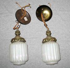 2 Vintage Retro White Iridescent Ribbed Glass Light Fixtures