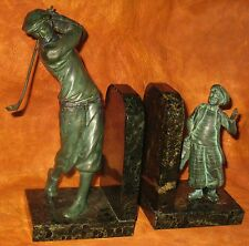 VINTAGE BRONZE & MARBLE BOOKENDS GOLFER & CADDY GERMANY CIRCA 1920 RESTORATION