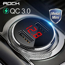 ROCK Metal Digital Display Dual USB Car Charger 3.4A Fast Charging Voltage Monit
