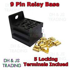Relay Base 9 PIN Automotive Suits 4 5 & 9 Pin Relays 12V 24V + 5 Terminals