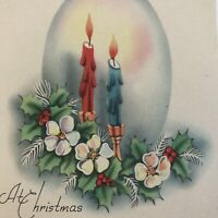 Vintage Mid Century Christmas Greeting Card Soft Candle Flames Flowers Pink Blue