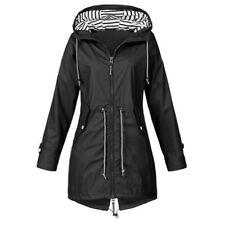 Women Ladies Waterproof Jacket Raincoat Hooded Rain Coats Forest Coat UK