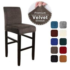 Velvet Elastic Chair Cover for Bar Stool Short Back Dining Room Chair Slipcover