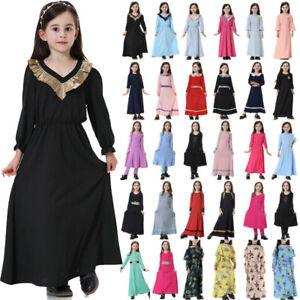 For Girl Muslim Abaya Islamic Arab Kaftan Robe Party Dress Holiday Maxi Dresses