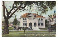 1912 SAN BERNARDINO CA WOMEN'S CLUB HOUSE VINTAGE POSTCARD CALIFORNIA DORA OLD !