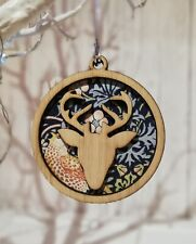 Christmas Tree Decoration Bauble Made From William Morris Strawberry Thief Stag