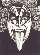 Gene Simmons Custom inked Art From Local Artist 12 x 9