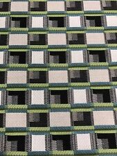 WOVEN UPHOLSTERY FABRIC Blue Cream Green Black Plaid HOME DECOR (3.5 Yards)