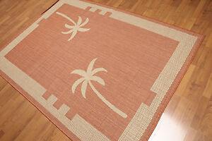 "5'4"" x 7'8"" Traditional Oriental Area rug Flat pile AOR7367 Terracotta"