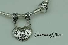 GENUINE Pandora bracelet with 2 Mother/Son charm set. 925 Sterling Silver.