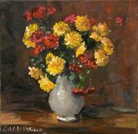 Framed Original oil painting art Vase of flowers floral impressionism home decor