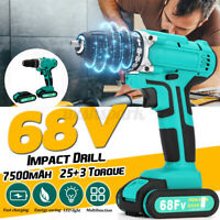 68V 7500mAh Electric Cordless Impact Drill 2-Speed Power 2 Battery Driver