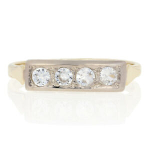 .25ctw Round Cut Synthetic White Spinel Vintage Ring - 14k Gold Wedding Band