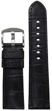 Gator Print & Black Stitch 125/75 26/24 26mm Panatime Black Leather Watch Band w