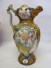 """Antique 13"""" tall Victorian Ornate Vase/Pitcher w/Scrolled Handle England AUC"""