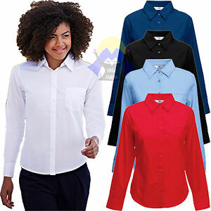 CAMICIA Donna FRUIT OF THE LOOM a MANICHE LUNGHE Woman TINTA UNITA Elegante SERA