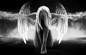 Abstract Angel - Black And White Fire Modern Art Large Poster & Canvas Picture