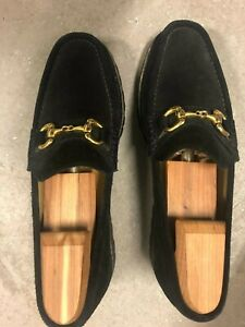 MENS COLE HAAN BLACK SUEDE GOLD BIT LOAFERS SIZE 8 M