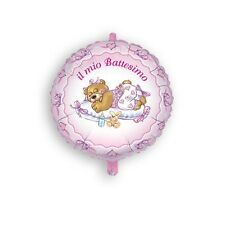 PALLONCINO BATTESIMO mylar Orsetto rosa 45 cm Addobbi Feste ed eventi