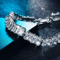 18k white gold gp simulated diamond iced bling tennis chain bracelet fashion