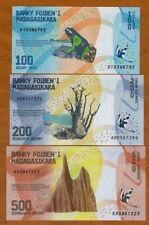 LOT SET SERIE 3 BILLETS MADAGASCAR 100 200 500 ARIARY 2017 NEW NOUVEAU  NEUF UNC