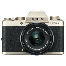 New FUJIFILM X-T100 Mirrorless Digital Camera with 15-45mm Lens - CHAMPAGNE GOLD