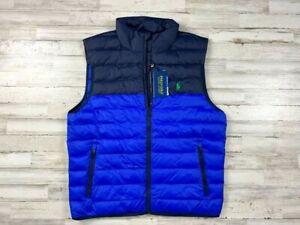 New Ralph Lauren Polo Golf Packable Waterproof Down Puffer Vest Blue Size XL