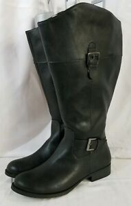 Faded Glory Womens extended Calf Boots Low Heel Size 6 Black Faux Leather zip
