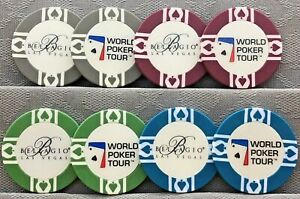 4 BELLAGIO WORLD POKER TOUR COLLECTABLE CASINO CHIPS LAS VEGAS WPT