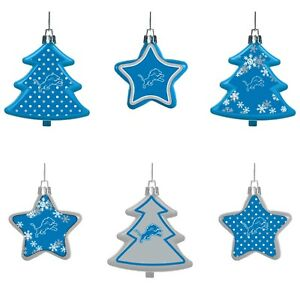 Detroit Lions Shatterproof TREES & STARS Christmas Tree Ornaments Set 6 pack
