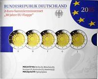 5 x 2 Euro Europa-Flagge Deutschland 2015 Polierte Platte Mzz A D F G J im Satz